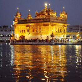 Golden Temple在夜晚閃閃發光